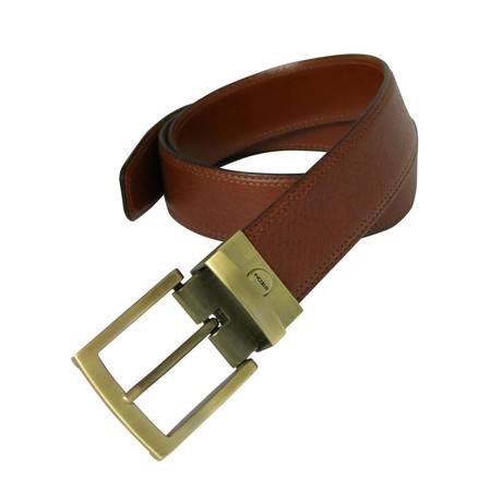 Becker Reversible Leather Belt // Cognac + Tan (32)