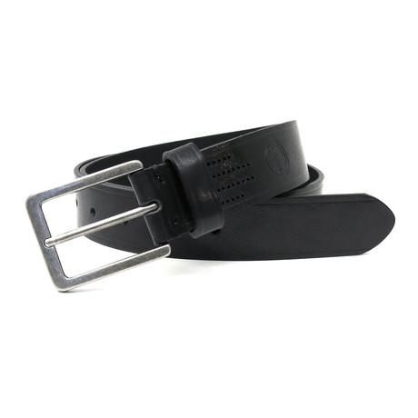 Bono Embossed Logo Leather Belt // Black (32)