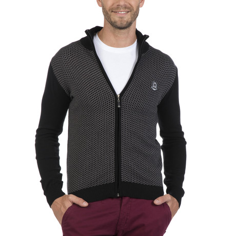 Zip-Up Cardigan // Black + Gray (XS)
