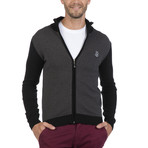 Zip-Up Cardigan // Black + Gray (M)