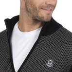 Zip-Up Cardigan // Black + Gray (XL)