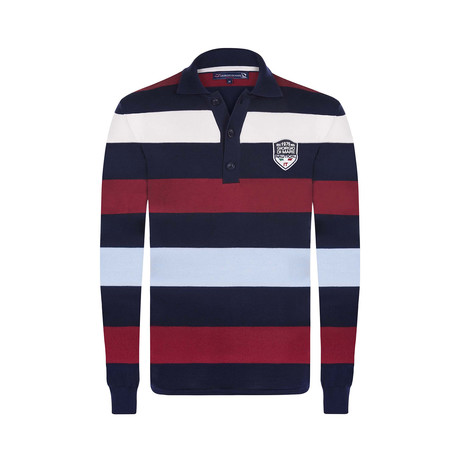 Striped Pullover // Navy + Blue + Bordeaux + White (XS)