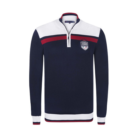 Quarter Zip Pullover // Navy + Red + White (XS)
