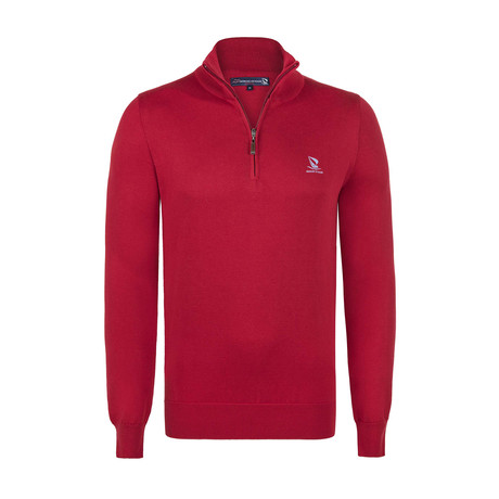 Quarter Zip Pullover // Red (XS)