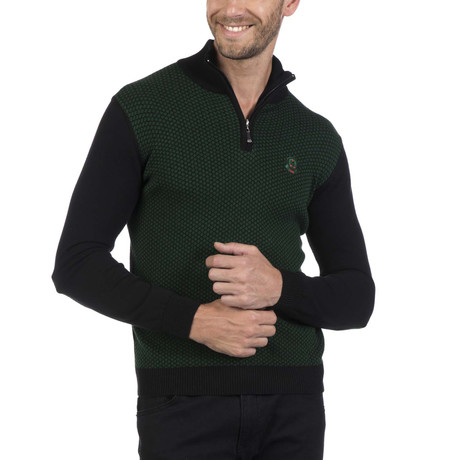 Quarter Zip Pullover // Black + Green (XS)