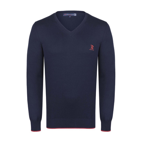 V-Neck Sweater // Navy + Red (XS)