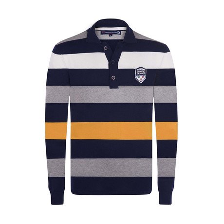 Striped Pullover // Navy + Yellow + Gray + White (XS)