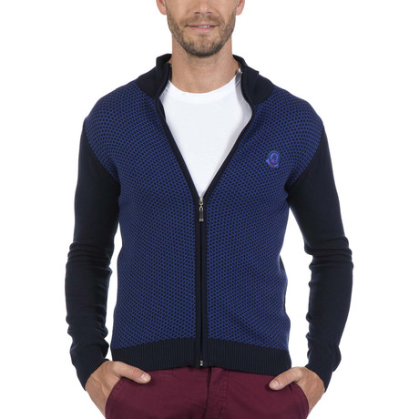 Zip-Up Cardigan // Navy + Blue (XS)