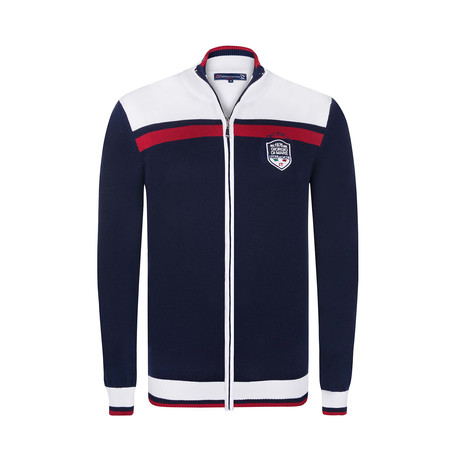 Nautical Zip-Up // Navy + White + Red (XS)