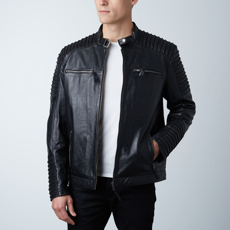 Painted Leather Double Zip Jacket // Black