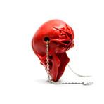 Rose Skull Pendant // Red + Silver