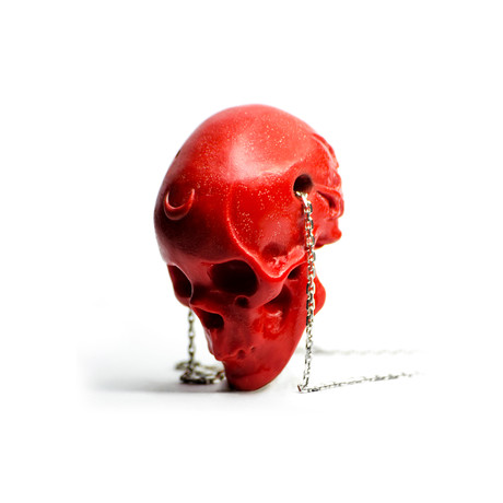 Rose Skull Pendant // Red + Silver