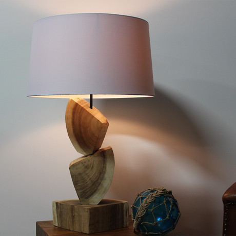 Stacked Wood Quarters Table Lamp