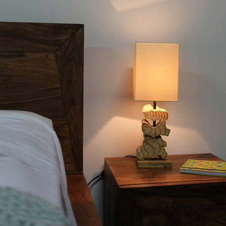 Stacked Wood Free Table Lamp