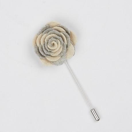 Lapel Flower // Gray + Vanilla