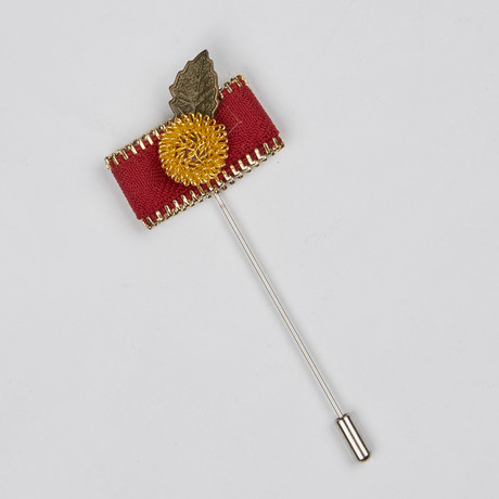 Lapel Flower // Red + Gold Zipper