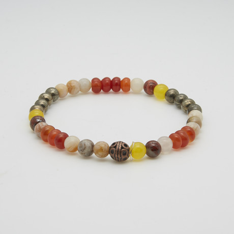 Cornelian African Jade + Purite Beads Bracelet