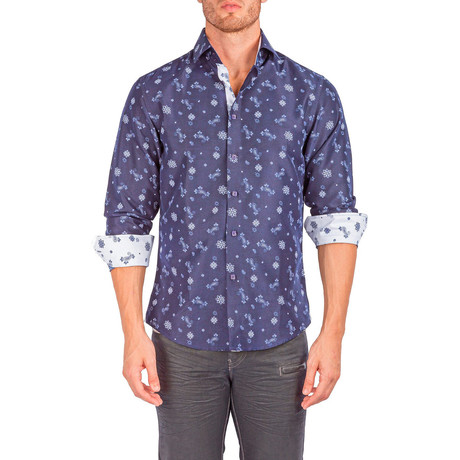 Olliver Long-Sleeve Button-Up Shirt // Navy (XS)