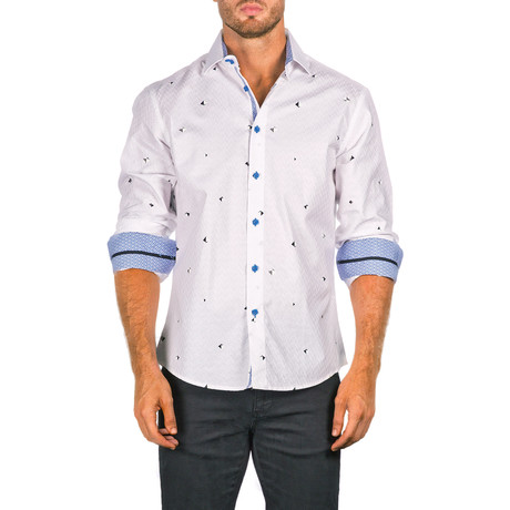 Jacob Long-Sleeve Button-Up Shirt // White (XS)