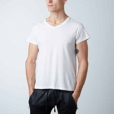 Essentials Hi-Lo V-Neck Tee // White (XS)