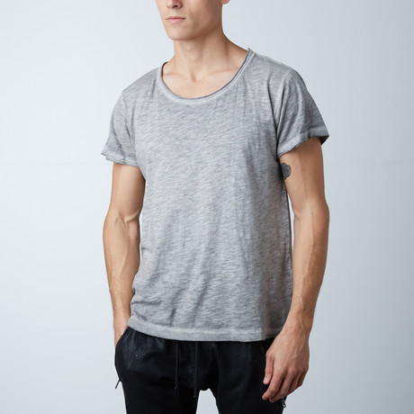 Wide Neck Raw Tee // Cloud Gray (XS)