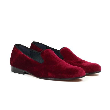 Velvet Slip-On Loafers // Burgundy