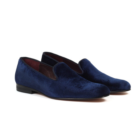 Velvet Slip-On Loafers // Navy (US: 6)