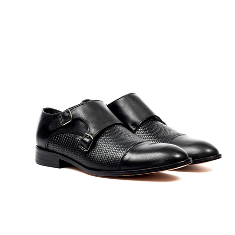Textured Monk Strap Dress Shoes // Black (US: 6)