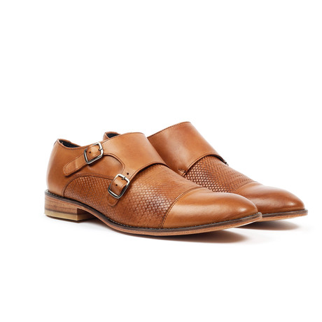 Textured Monk Strap Dress Shoe // Cognac (US: 6)