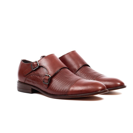 Textured Monk Strap Dress Shoe // Dark Brown (US: 6)
