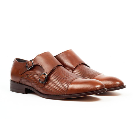Textured Monk Strap Dress Shoe // Tan (US: 6)