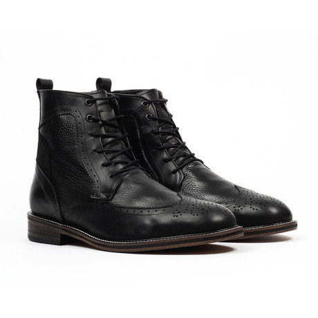 Lace-up Wingtip Dress Boot // Black (US: 6)