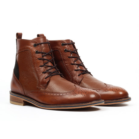 Lace-up Wingtip Dress Boot // Cognac (US: 6)