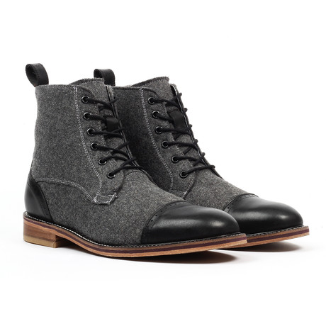 Cap Toe Lace-up Dress Boot // Black (US: 6)
