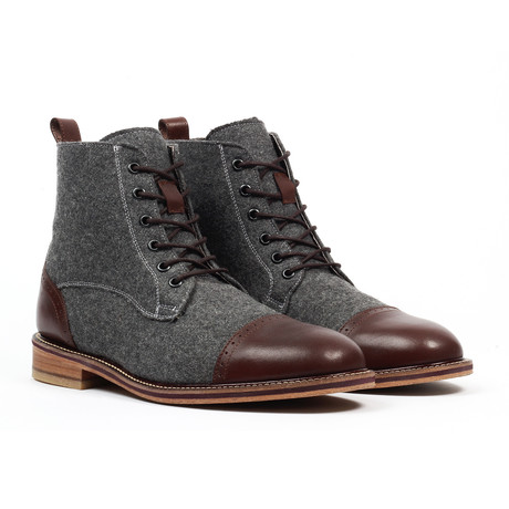 Cap Toe Lace-up Dress Boot // Dark Brown (US: 6)
