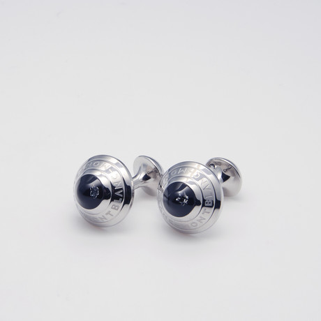 Studded Steel Cuff Links // Silver + Black