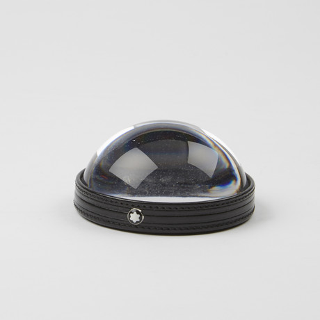 Crystal + Leather Paper Weight Magnifier // Clear + Black