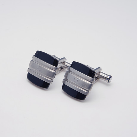 Meisterstuck Square Onyx + Stainless Steel Cuff Links // Silver + Black