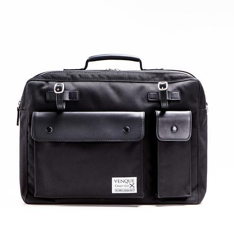 Milano Briefcase // Black + Black