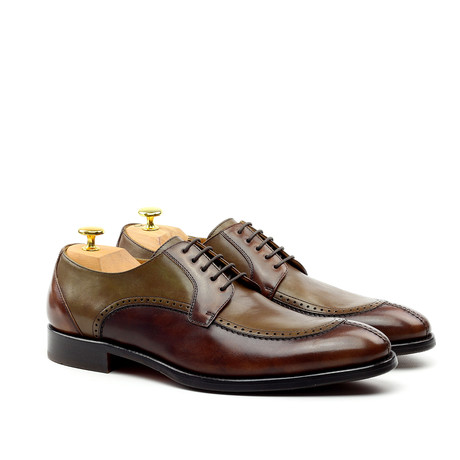 Apron-Toe Derby // Chocolate + Olive Green (Euro: 39)