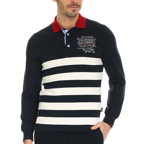 Haag Polo Sweatshirt // Dark Navy Striped (S)