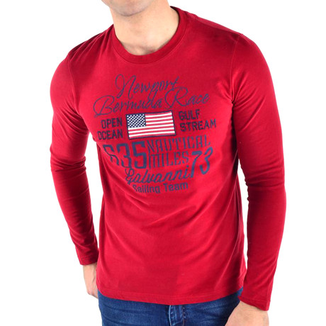 Hewitt T-Shirt Long Sleeve // Dark Red + Multi (S)