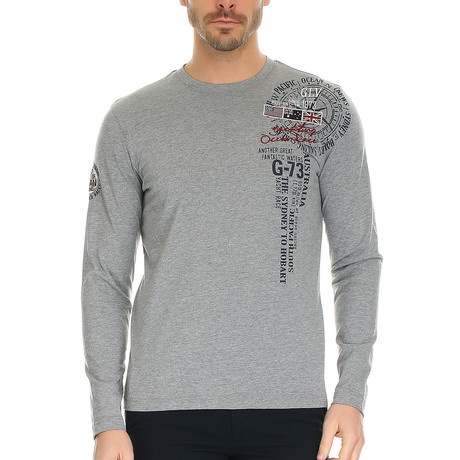 Falke T-Shirt Long Sleeve // Grey Melange + Multi (S)