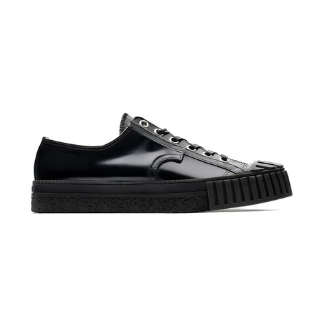 Low Lace-Up Canvas Sneakers // Black
