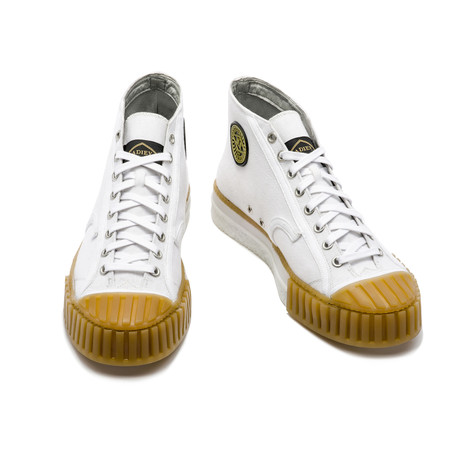 High Top Lace-Up Sneaker // White + Honey (Euro: 39)