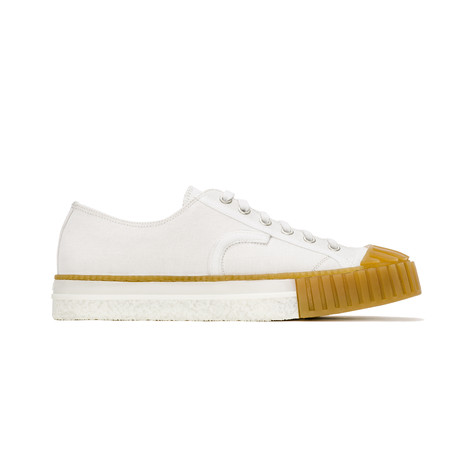 Low Lace-Up Canvas Sneakers // White + Honey II (Euro: 39)