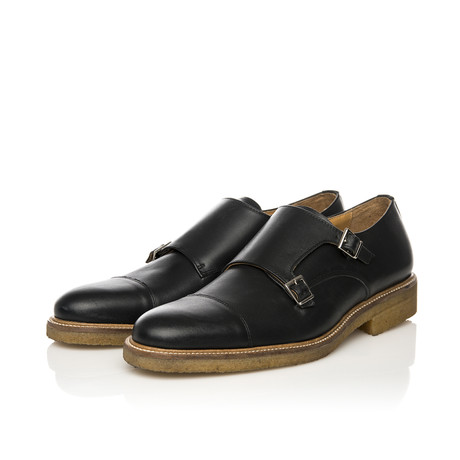 Crepe Sole Double Monk-Strap Shoe // Black (Euro: 39)
