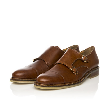 Crepe Sole Double Monk-Strap Shoe // Cognac (Euro: 39)