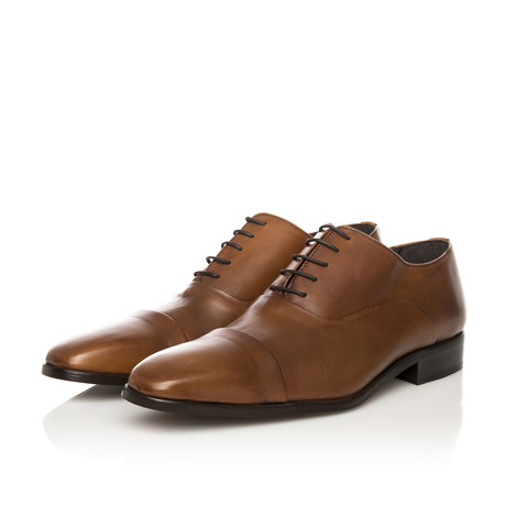 Oxford Lace-Up Cap Toe Classic Shoe // Cognac (Euro: 39)