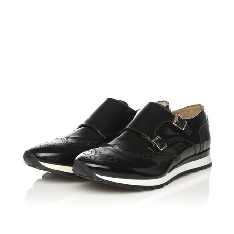 Patent Leather Double Monk Shoe // Black (Euro: 39)
